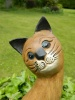 Wooden Cat Carving - Cat With Head On Side