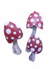 Wooden Fat Red Mushrooms - Set of 3