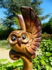 Wooden Owl Carving - Wing Up Owl On Totem