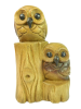 Wooden Owl Carving - Owls On Stump