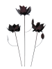 Metal Rose on 1m Stick - Set of 3 - Bronze