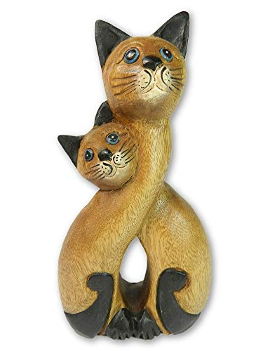 Wooden Cat Carving -Large Cats In Love