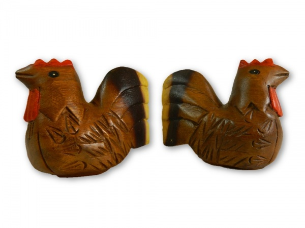 Wooden Pair Of Animals - Pair of Painted Chickens