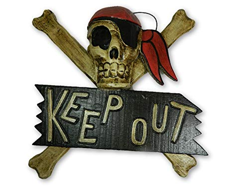 Pirate Skull And Crossbone Hanging Keep Out Sign - Bandana
