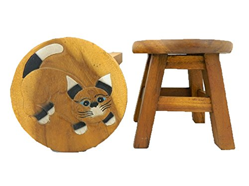 Childrens Wooden Stool - Cat Natural