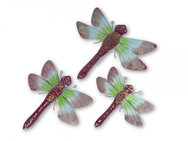 Metal Dragonfly Wall Art - Purple - Set of 3