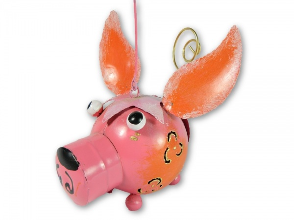 Metal Hanging Animal Tealight Holder - Pig