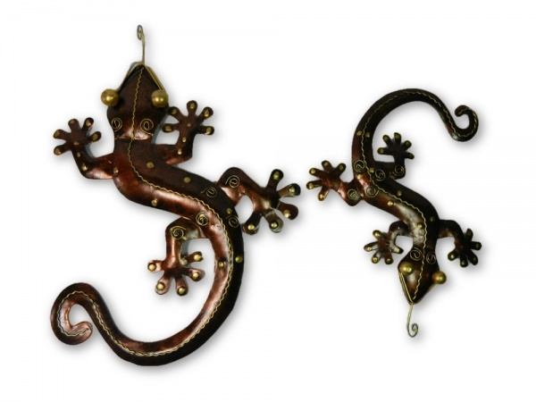 Metal Wall Art Gecko - Bronze - Set of 2