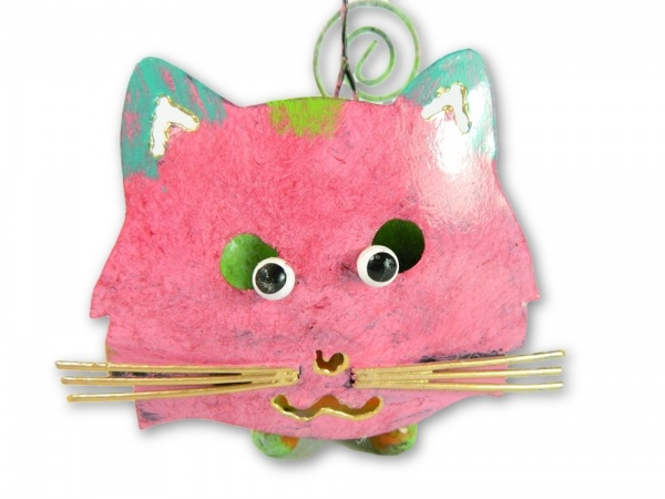 Metal Hanging Animal Tealight Holder - Pink Cat