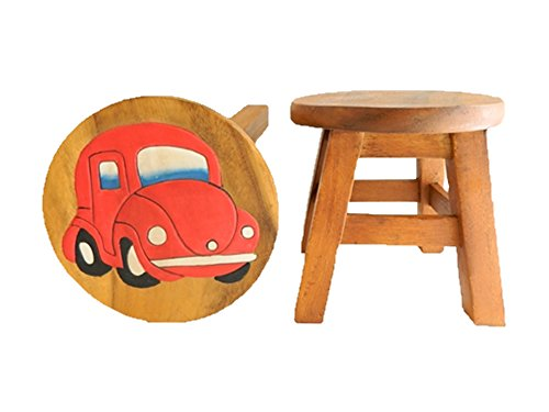 Childrens Wooden Stool - Red Car