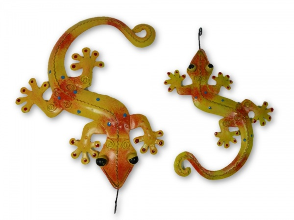 Metal Wall Art Gecko - Orange/Yellow - Set of 2