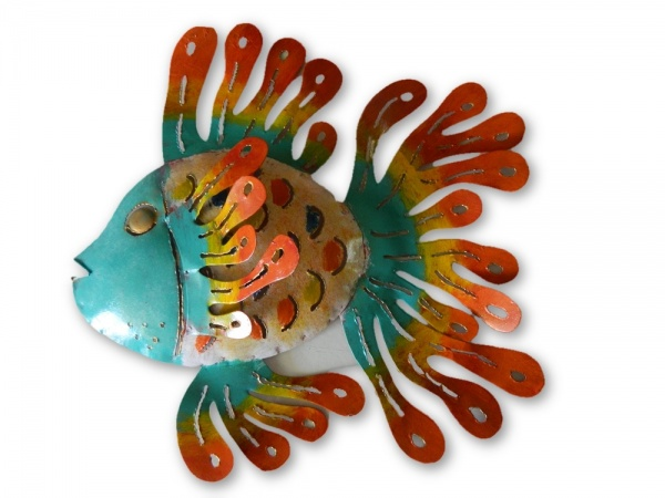 Metal Wall Art Fish - Blue Face