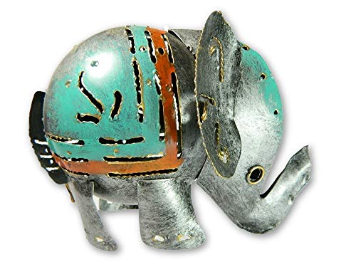 Metal Standing Animal Tealight Holder - Silver Elephant
