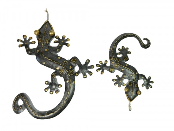 Metal Wall Art Gecko - Silver - Set of 2