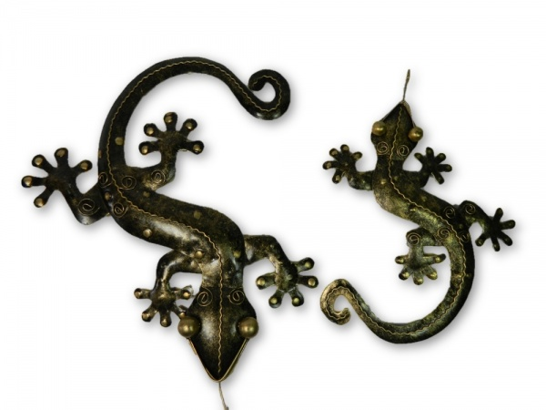 Metal Wall Art Gecko - Gold - Set of 2