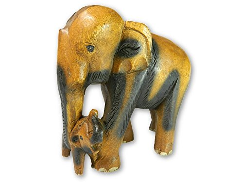 Wooden Elephant Carving - Mother and Baby Elephant Trunk Down