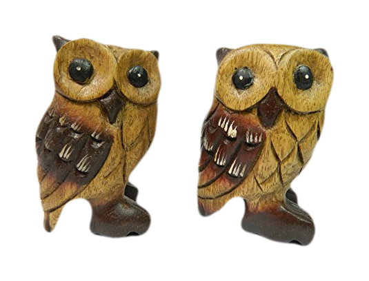 Wooden Owl Carving - Pair of Owls