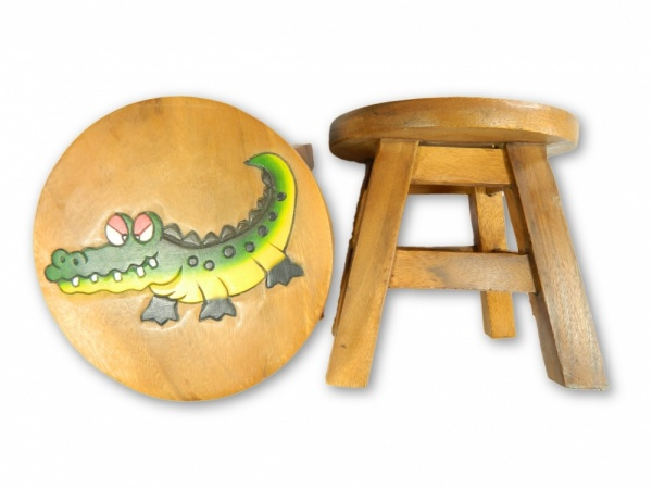 Childrens Wooden Stool - Crocodile