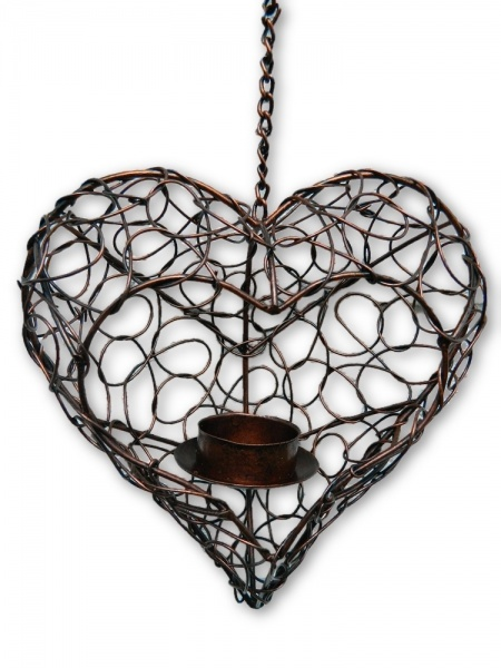 Metal Hanging Heart Tealight Holder - Bronze