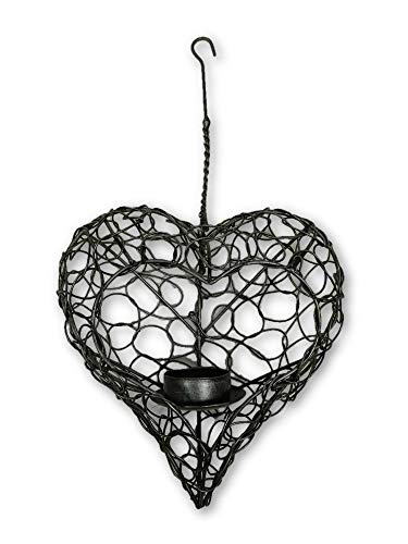 Metal Hanging Heart Tealight Holder - Silver