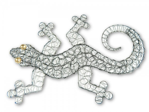 Silver Wire Wall Art - Gecko