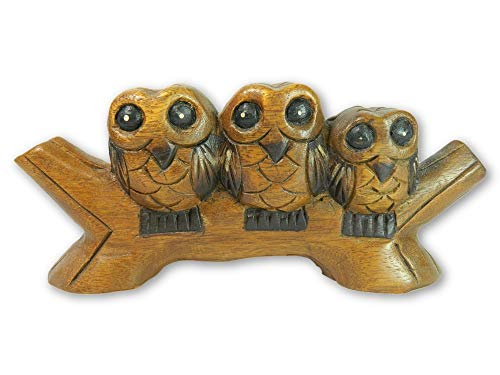 Wooden Owl Carving - Three Owls On Low Perch