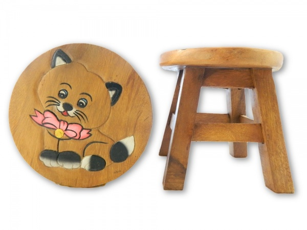 Childrens Wooden Stool - Cat With Bow