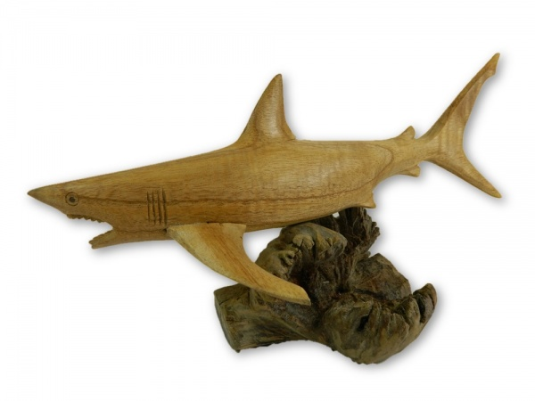 Hand Carving Wooden Great White Shark - 30cm