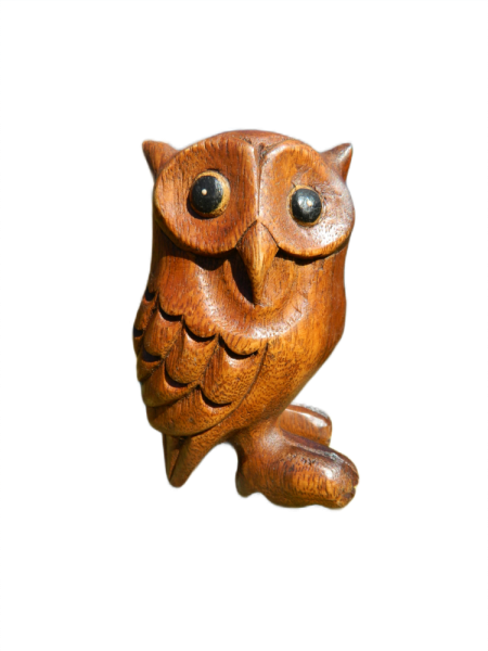 Wooden Owl Carving - Standing Owl