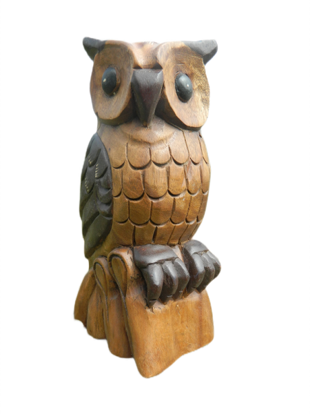Wooden Owl Carving - Large Horned Owl