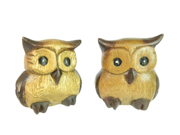 Wooden Owl Carving - Pair of Fat Owls