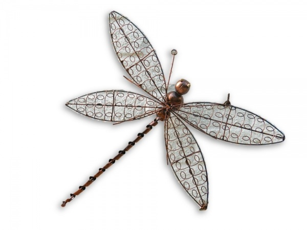 Copper Wire Dragonfly Wall Art - Small