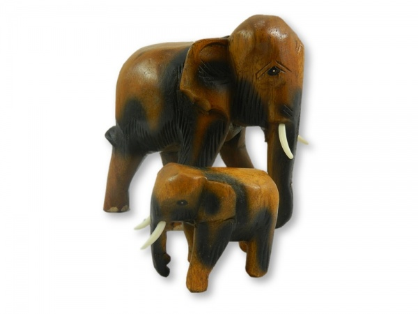 Wooden Elephant Carving - Mother And Baby Pair