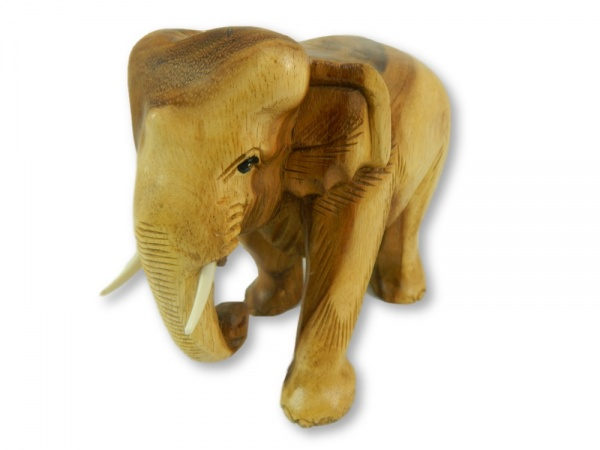 Wooden Elephant Carving - Natural Elephant