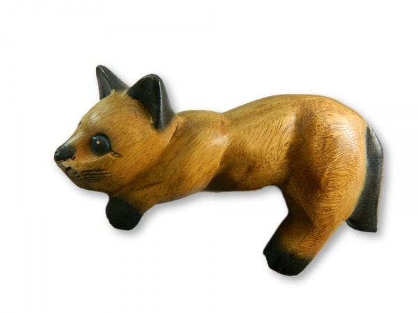 Wooden Cat Carving - Lazy Shelf Cat
