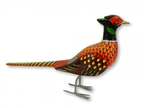 Wooden Painted Bird - Pheasant