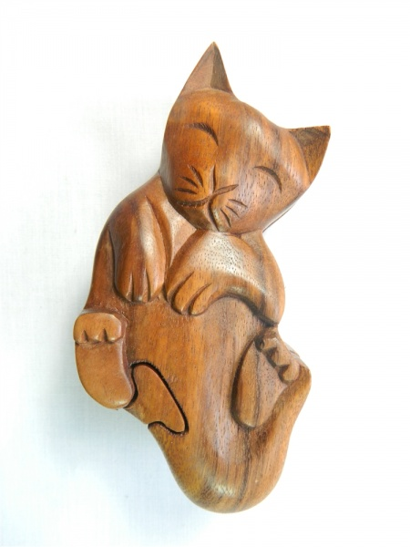 Wooden Puzzle Box - Playing Cat