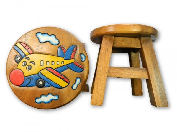 Childrens Wooden Stool - Airplane with face