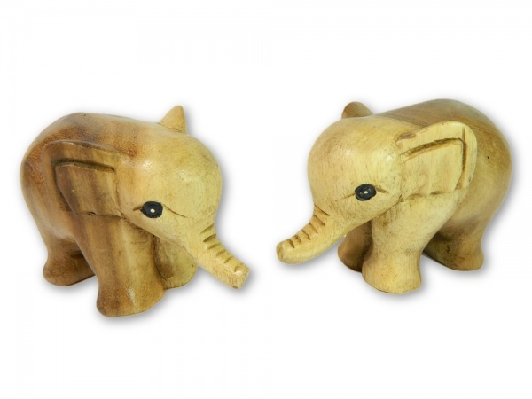 Wooden Pair Of Animals - Pair of Baby Elephants