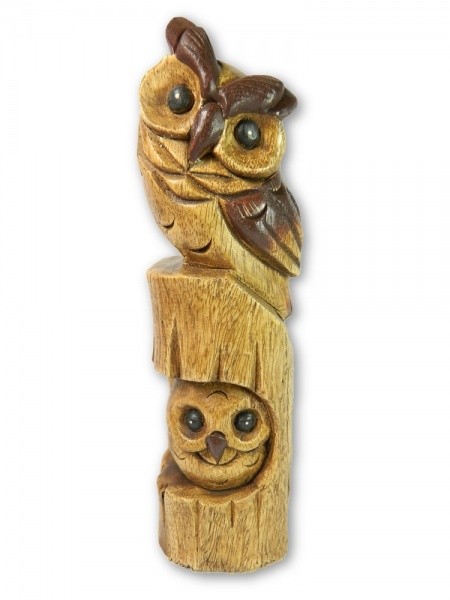 Wooden Owl Carving - Horned Owl on Totem