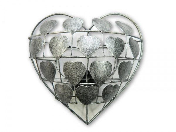 Metal Heart Tea- Light Holder/ Sconce- Silver