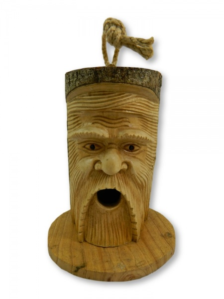 Wooden Bird House Nest Box - Green Man