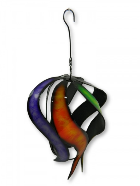 Metal Wind Spinner - Orange/Purple/Green