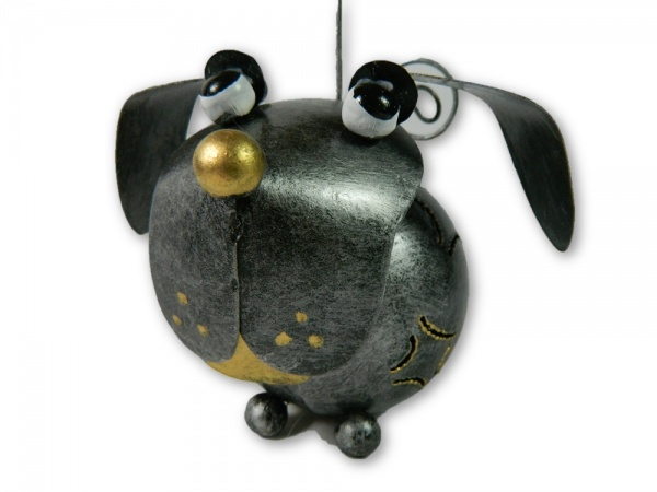 Metal Hanging Animal Tealight Holder - Silver Dog