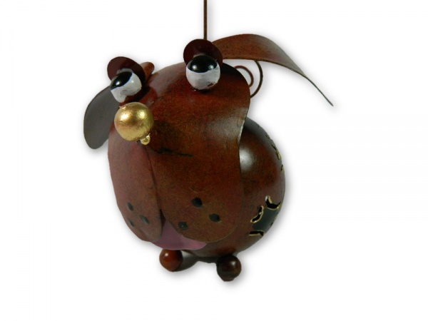 Metal Hanging Animal Tealight Holder - Bronze Dog