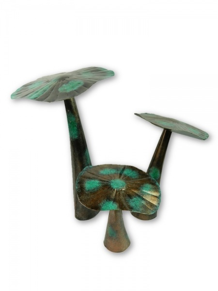 Bronze VDG Flat Metal Mushroom - Set of 3