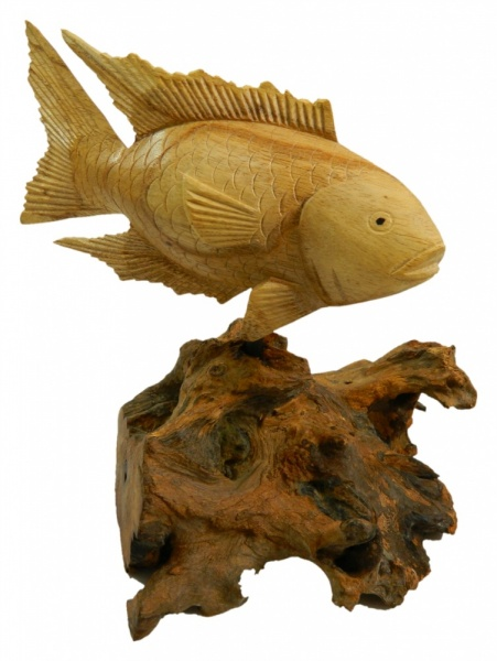 Hand Carving Wooden Koi on Parasite Wood - 20cm