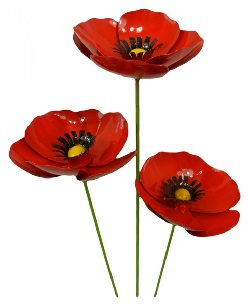 Metal Poppy on 1m Stick - Set of 3 - Red
