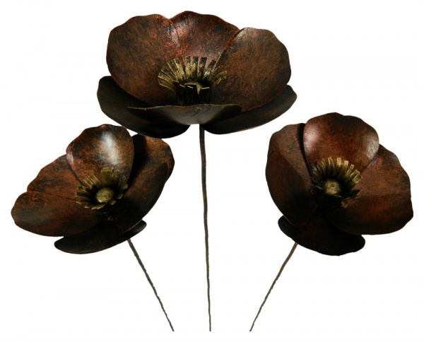 Metal Poppy on 1m Stick - Set of 3 - Bronze