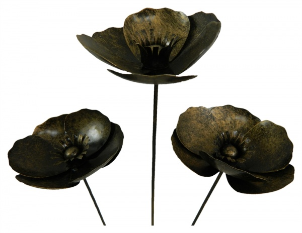 Metal Poppy on 1m Stick - Set of 3 - Gold